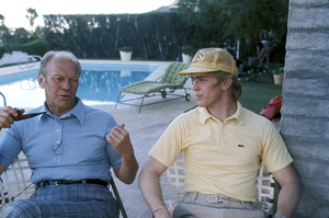Gerald Ford and his son Steven relaxing around pool at Palm Springs, CA 1977** H.L. - Image 7684_0019