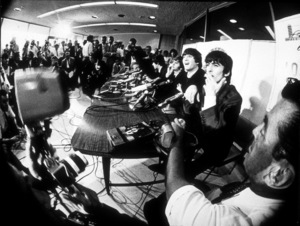 The Beatles Paul McCartney, Ringo Starr, John Lennon, George Harrison, (shot through a fish lens) © 1978 Bud Gray / MPTV - Image 7685_0017