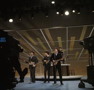 "The Beatles (Paul McCartney, George Harrison, Ringo Starr, John Lennon) rehearsing for their appearance on ""The Ed Sullivan Show""1964 © 1978 Gunther - Image 7685_0095"
