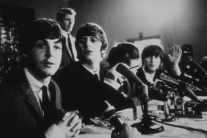 The Beatles ( Paul McCartney,Ringo Starr, George Harrison, John Lennon) at a press conference.c. 1964 © 1978 Gunther / MPTV  - Image 7685_0110