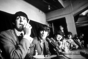 The Beatles ( Paul McCartney, George Harrison,John Lennon and Ringo Starr in press conference)c. 1964 © 1978 Gunther / MPTV - Image 7685_0147