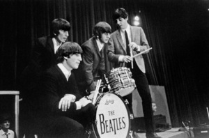 The Beatles (George Harrison, John Lennon, Ringo Starr, and Paul McCartney) on stage 1964 © 1978 Gunther - Image 7685_0148