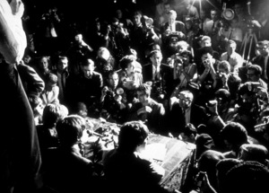 The Beatles (Ringo Starr, John Lennon,George Harrison, &  Paul McCartney) at apress conference. 1964 © 1978 Gunther / MPTV  - Image 7685_0151