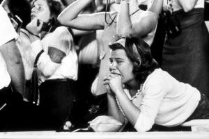 Beatles Fans enjoying concert at Shea Stadium, August 15, 1965(Fan in tears of joy) © 1978 George E. Joseph / MPTV - Image 7685_0180
