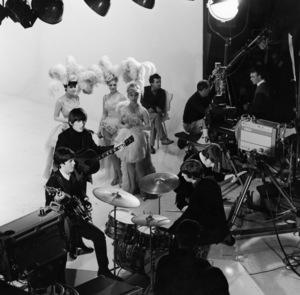 "The Beatles (John Lennon, Ringo Starr, Paul McCartney, George Harrison) in ""A Hard Day"