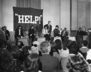 "The Beatles press conference for album/soundtrack ""Help""George Harrison, Ringo Starr, Paul McCartney, John Lennon1965Photo by Joe Shere** I.V. - Image 7685_0313"