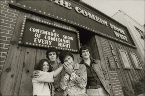 Mitzi Shore, Jay Leno, Billy Braver and Ed Bluestone outside The Comedy Store West on Westwood Boulevard in Los Angeles, California1978© 1978 Phil Fewsmith - Image 7687_0021