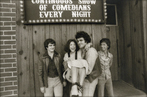 Ed Bluestone, Mitzi Shore, Jay Leno and Billy Braver outside The Comedy Store West on Westwood Boulevard in Los Angeles, California1978© 1978 Phil Fewsmith - Image 7687_0022