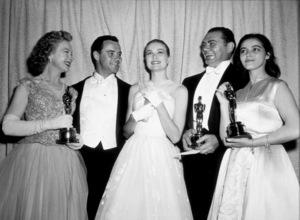 """Academy Awards: 28th Annual,""Jo Van Fleet, Jack Lemmon, Grace Kelly,Ernest Borgnine, and Marisa Pavan.1956. - Image 7979_0002"