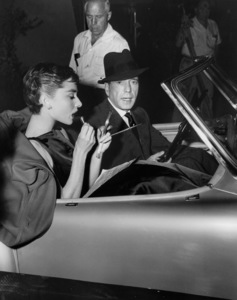 """Sabrina"" Audrey Hepburn and Humphrey Bogart in Nash Healey 1954 Paramount ** I.V. - Image 8124_0052"