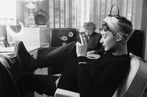 """Audrey Hepburn is her dressing room during the filming of """"Sabrina""""1953© 2000 Mark Shaw - Image 8124_0103"""