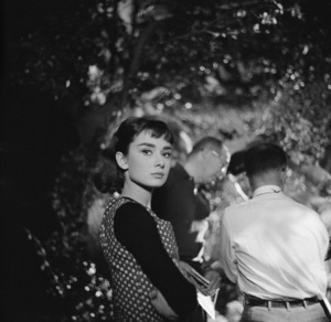"Audrey Hepburn on the set of ""Sabrina""1953© 2017 Mark Shaw - Image 8124_0130"