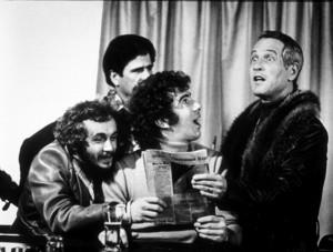 """Slap Shot,""Paul Newman, Yvon Barette, Stephen Mandillo, Jerry  Houser. © 1977 Universal - Image 8203_0004"