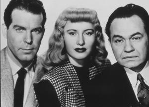 """Double Indemnity,""Barbara Stanwyck, Fred MacMurray,and Edward G. Robinson.1944 Paramount - Image 8294_0017"