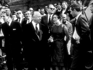 """""""Torn Curtain,""""Alfred Hitchcock with Princess Margaret and Lord Snowdon and Paul Newman circa 1966 - Image 8418_0004"""