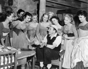 """Gene Kelly and dancers on the set of """"Brigadoon""""1954 MGM** I.V. - Image 8705_0012"""