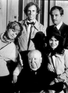 """""""Family Plot,""""B. Harris, B. Dern, R. Thinnes, K. Black,and Director Alfred Hitchcock, 1976. © 1978 Larry Barbier - Image 8897_0011"""