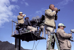 """""""The Greatest Story Ever Told""""Director George Stevens and still photographer Floyd McCarty on location at Pyramid Lake, Nevada1963Photo by Eliot Elisofon - Image 8951_0026"""