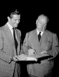 """""""Dial M For Murder,""""Robert Cummings with Alfred Hitchcock.1954 Warner Bros.Photo by Pat Clark - Image 9138_0043"""
