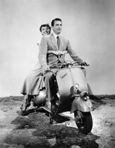 """Audrey Hepburn and Gregory Peck during the making of """"Roman Holiday"""" 1953 Paramount Pictures  - Image 9202_0021"""