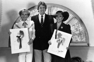 """Linda Evans and Joan Collins with designer Nolan Miller on the set of """"Dynasty""""1983© 1983 Ron Grover - Image 9295_0357"""