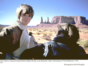 """""""Wild Rovers, The""""Julie Andrews visiting husbandDir. Blake Edwards on the Monument Valley, Utah location, 1970. © 1978 Bob Willoughby - Image 9414_0027"""