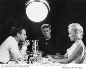 """Notorious Landlady""Jack Lemmon, Dir. Richard Quine andKim Novak during rehearsal.1962 Columbia © 1978 Bob Willoughby - Image 9459_0030"