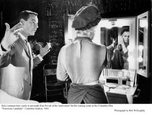 """Notorious Landlady""Jack Lemmon and Kim Novak in the dressing room. 1962 Columbia © 1978 Bob Willoughby - Image 9459_0044"
