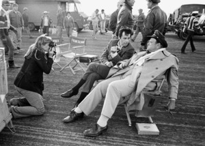 """""""Catch-22"""" Candice Bergen, Peter Bogdanovich and Orson Welles in Guaymas, Mexico 1969 © 1978 Bob Willoughby - Image 9488_0024"""