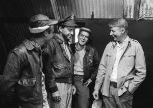 """Catch-22""Art Garfunkel, Alan Arkin, Martin Sheen, director Mike Nichols1969© 1978 Bob Willoughby - Image 9488_0091"