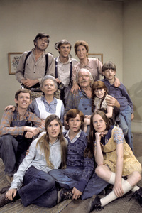 """The Waltons""(from left, back row) Ralph Waite, Richard Thomas, Michael Learned (center row) Jon Walmsley, Ellen Corby, Will Geer, Kami Cotler, David W. Harper (front row) Judy Norton-Taylor, Eric Scott, Mary Beth McDonoughcirca 1975** H.L. - Image 9565_0031"