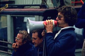 """Jaws""Producer Richard D. Zanuck, Roy Scheider, director Steven Spielberg1975 Universal Pictures - Image 9575_0065"