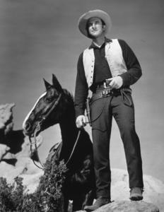 James Arness standing next to a horse, circa 1956. © 1978 Glenn EmbreeMPTV - Image 985_44