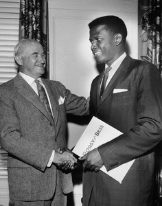 """""""Porgy and Bess""""Producer Samuel Goldwyn and Sidney Poitier just as Poitier signed the contract to enact the title role in """"Porgy and Bess""""circa 1958** I.V. - Image 9893_0018"""