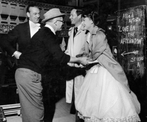 """Love In The Afternoon""Gary Cooper, Billy Wilder, Audrey Hepburn, and MelFerrer on the set/ 1957 © 1978 Al St. Hilaire - Image 9902_0018"