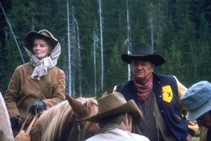 """Rooster Cogburn""Katharine Hepburn and John Wayne on location 1975 Universal © 1978 David Sutton - Image 9967_0024"