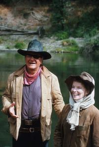 """Rooster Cogburn""Katharine Hepburn and John Wayne on location 1975 Universal © 1978 David Sutton - Image 9967_0025"