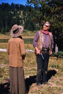 """Rooster Cogburn,"" Universal 1974.Katharine Hepburn and John Wayne. © 1978 David Sutton - Image 9967_0053"