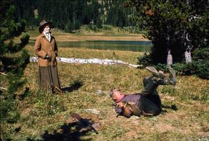 """Rooster Cogburn,"" Universal 1974.Katharine Hepburn and John Wayne. © 1978 David Sutton - Image 9967_0057"