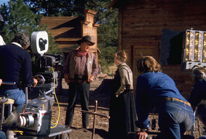 """Rooster Cogburn,"" Universal 1974.John Wayne and Katharine Hepburn during filming. © 1978 David Sutton - Image 9967_0063"
