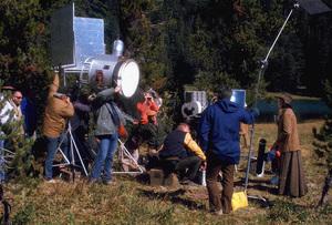 """Rooster Cogburn,"" Universal 1974.John Wayne and Katharine Hepburn during filming. © 1978 David Sutton - Image 9967_0064"