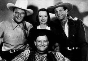 """Overland Stage Raiders,"" Republic 1938.John Wayne and Louise Brooks. - Image 9990_0001"