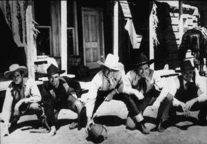 """Born to the West,"" Paramount 1937.James Craig, Monte Blue, John Wayne, Nick Lukats, and Johnny Mack Brown. - Image 9991_0002"