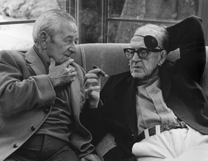 John Ford talking to William Wyler at a George Cukor hosted lunch for Luis Bunuel1972 © 1978 Marv Newton - Image 9999_0003