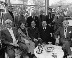 George Cukor hosts a party for Luis Bunuel (Back row from left: Robert Mulligan, William Wyler, George Cukor, Robert Wise, Jean-Claude Carriere and Serge Silverman / Front row from left: Billy Wilder, George Stevens, Luis Bunuel, Alfred Hitchcock and Rouben Mamoulian)November 1972© 1978 Marv Newton - Image 9999_0007