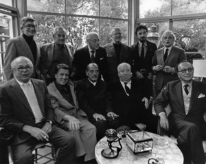 Directors Group Party (Front) Billy Wilder, George Stevens, Luis Bunuel, Alfred Hitchcock, and Rouben Mamoulin (Back) Robert Mulligan, Wiliam Wyler, George Cukor, Robert Wise, Jean-Claude Carriere, and Serge Silverman1972© 1978 Marv Newton - Image 9999_0021