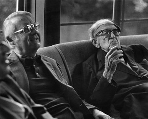 John Ford talking to Robert Wise at a George Cukor hosted lunch for Luis Bunuel1972 © 1978 Marv Newton - Image 9999_0023