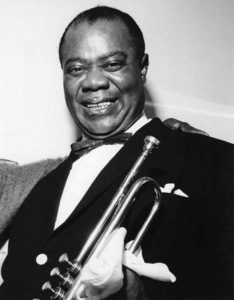 Louis Armstrong backstage at Finsbury Park Astoria, London 1962Photo by Brian Foskett © National Jazz Archive - Image FOS_0009
