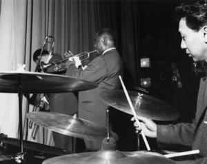 Louis Armstrong and His All-Stars on stage on Day 2, Finsbury Park Astoria, London 1962 Photo by Brian Foskett © National Jazz Archive - Image FOS_0012