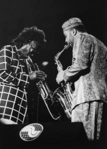 Miles Davis and Kenny Garrett, North Sea Jazz Festival, The Hague, Netherlands1991Photo by Brian Foskett © National Jazz Archive - Image FOS_00186